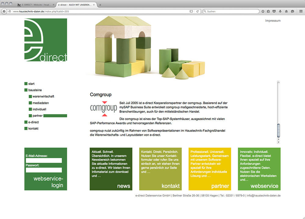 Ein Screenshot der e-direct Website