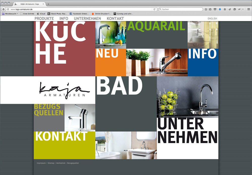 Die Kaja Website in einem Browserfenster