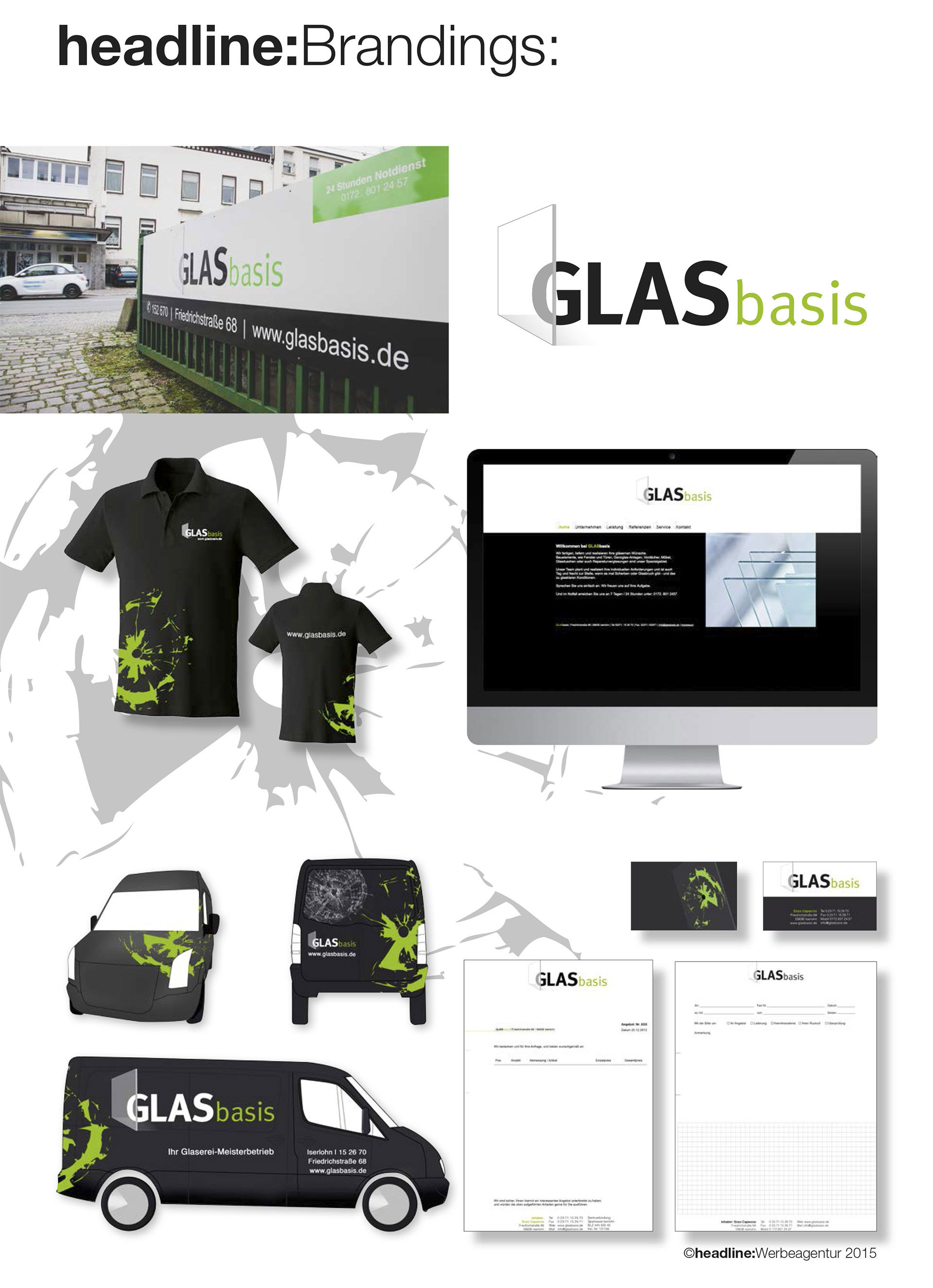 Das Glasbasis Branding by headline